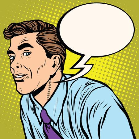 desconfianza: Hombre retro se ve con recelo pop ilustración de arte vectorial dibujo a mano realista