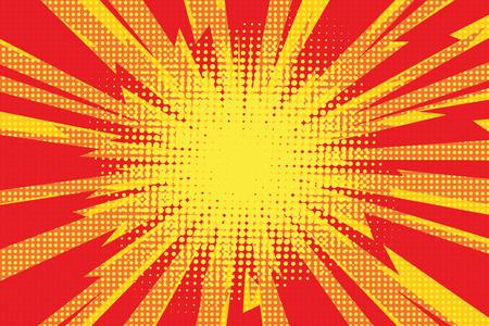 incineration: Red yellow pop art retro background cartoon lightning blast radiance vector illustration