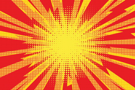 Red yellow pop art retro background cartoon lightning blast radiance vector illustration