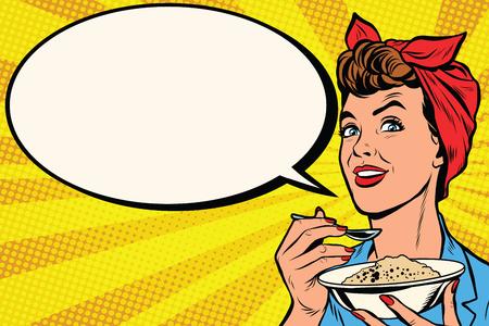 Femme avec un bol de céréales délicieux pop art rétro vecteur. Maman cuisine le matin