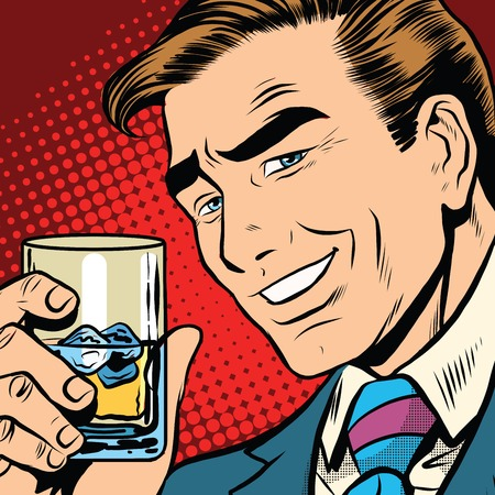 Toast cheers whisky with ice, elegant man pop art retro vector. a realistic drawing. Caucasian man a gentleman. Date, alcoholic beverage Çizim