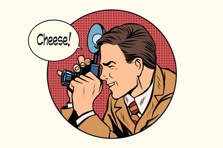 Pop art photographer cheese pop art retro vector. Profession photo. Smile Vectores
