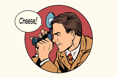Pop art photographer cheese pop art retro vector. Profession photo. Smile 向量圖像