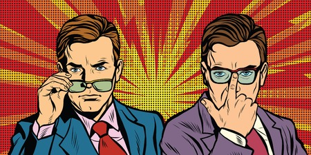 Two men with glasses look simply pop art retro vector realistic hand drawing illustration