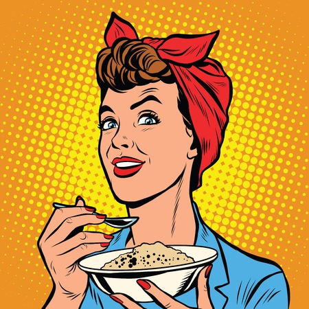 tastes: Woman with bowl of delicious cereal pop art retro vector. Mom cooks in the morning Illustration