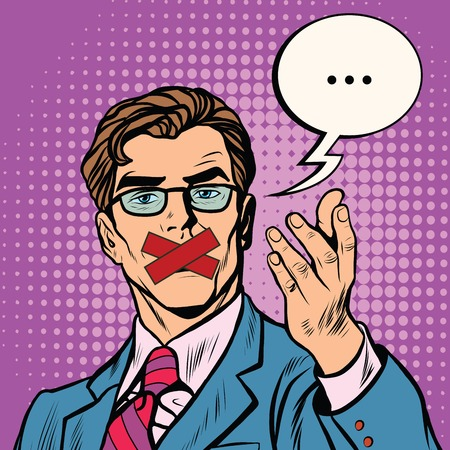 Man with taped mouth pop art retro vector. Censorship and freedom of speech. Policy and human rights Illustration