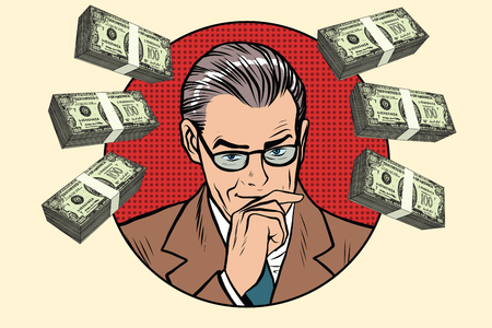 financier: Business man and wads of money pop art retro vector. Financier accountant