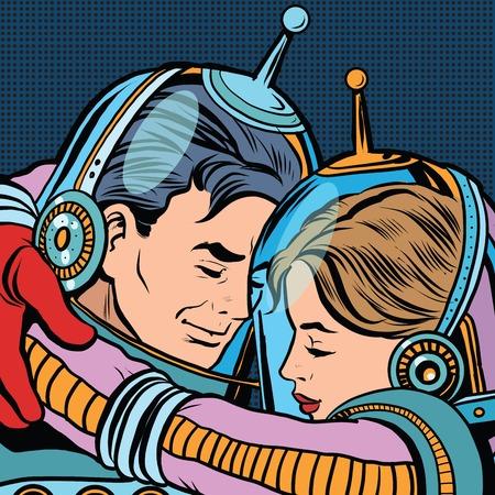 Retro liefde paar astronauten man vrouw pop art vector. Science fiction. Romantiek en liefde Stock Illustratie