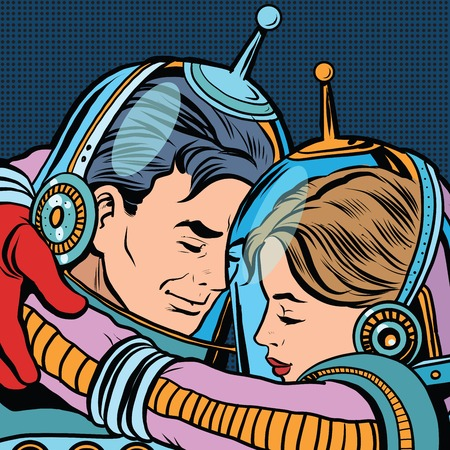 Retro love couple astronauts man woman pop art vector. Science fiction. Romance and love