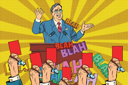 desconfianza: La desconfianza de la política, un candidato tarjeta del arte pop retro rojo vector. Las elecciones y apoyo de los votantes Vectores