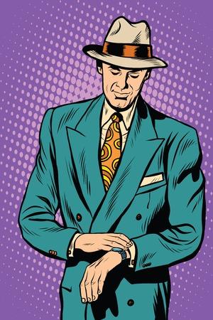 enhancement: Retro business male wristwatch time pop art vector realistic hand drawing illustration. Wrist watch. Male enhancement