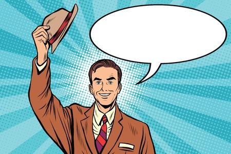 Greeting hats off welcome man pop art retro vector