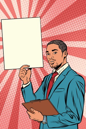 hispanic: Businessman with advertising poster, pop art retro vector. A black man African American, or Hispanic. Illustration