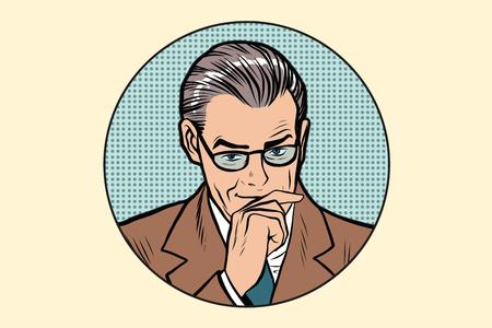 pensador: El hombre pensador pensamiento plantean en el vector del arte pop retro del c�rculo