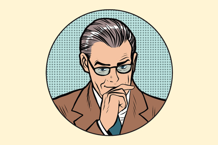 suspicious: The thinker thinking man pose in the circle pop art retro vector Illustration