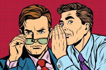 Business men gossiping pop art retro vector realistic hand drawing illustration