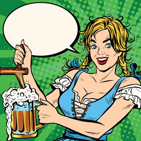 vintage art: Young blond woman pours a beer, dressed in a national costume of Germany pop art retro vector. Oktoberfest beer festival