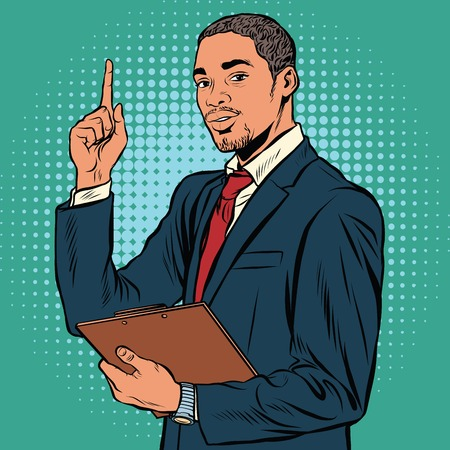 important: African business man, indicating an important topic pop art retro vector. Black African American, elegant gentleman of middle age.