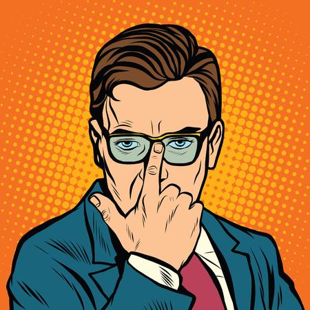 L'homme ajuste ses lunettes. rétro vecteur pop art main réaliste dessin illustration