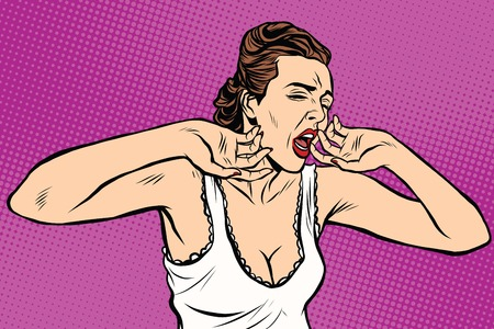 yawn: retro woman yawning in the morning pop art retro vector. Lady in a nightgown t-shirt
