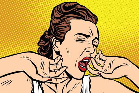 retro mujer bostezando en el vector retro arte pop de la mañana. Dama en un camisón camiseta