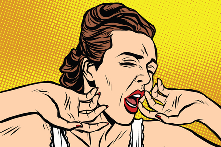 yawning: retro woman yawning in the morning pop art retro vector. Lady in a nightgown t-shirt