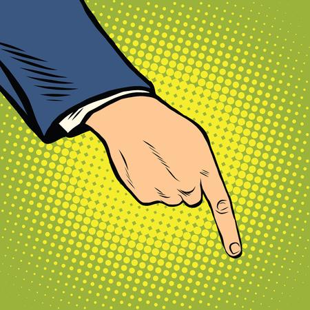 The hand points down pop art retro vector Illustration
