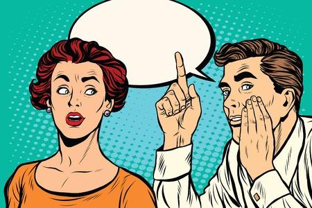 Mężczyzna i kobieta sekretne przesłuchanie plotki pop sztuki retro wektor realistyczne ręcznie rysowanie ilustracji. Mężczyzna szepcze do ucho dziewczyn