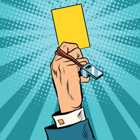 Amarilla de advertencia de tarjeta vector de concepto de negocio del arte pop retro. El símbolo de fútbol. El árbitro en el campo Foto de archivo - 59703885