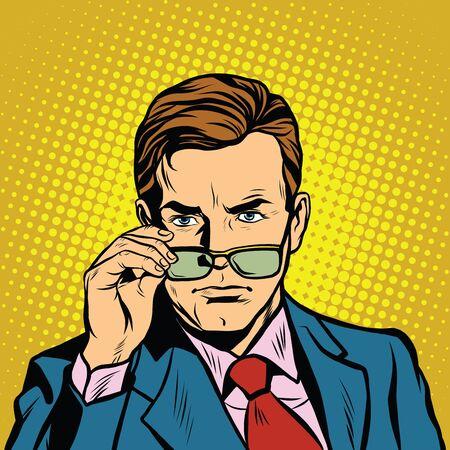 El hombre se quita las gafas Arte pop retro ilustración vectorial dibujo a mano realista Ilustración de vector