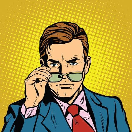 severe: The man takes off his glasses pop art retro vector realistic hand drawing illustration