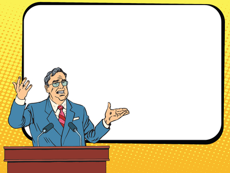lectern: Boss business man speaking at podium, lecture or presentation pop art retro vector. Education and science