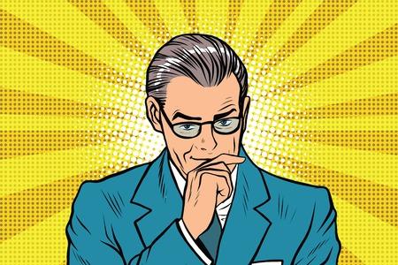 pensador: El hombre pensador pensamiento plantean un rayos de sol de fondo pop art retro