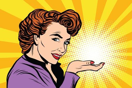 広告やパーム pop アート レトロ、ベクトル現実的な手描きのイラストに光レトロな女性。謎、秘密、小さな奇跡  イラスト・ベクター素材