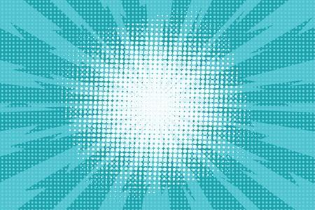 青色の雷コミック スタイルの光線を爆発、ポップアート レトロな背景、ベクトル イラスト