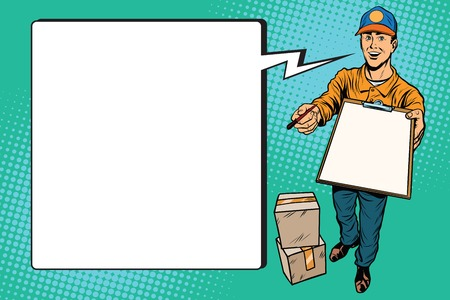 courier service: Courier delivery service mail and parcels. Pop art retro vector, realistic hand drawn illustration.