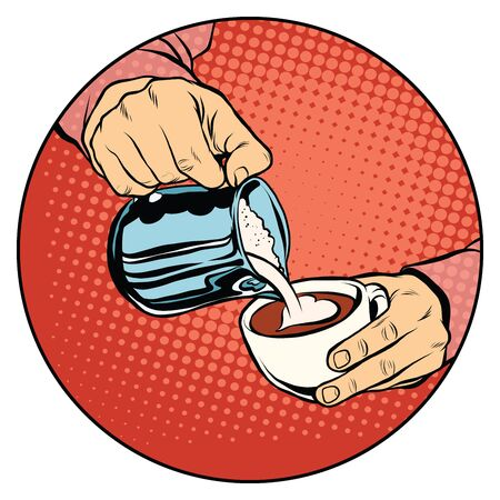 laced: Coffee laced with heart-shaped. Pop art retro vector, realistic hand drawn illustration.A hot beverage. Love and romance Illustration