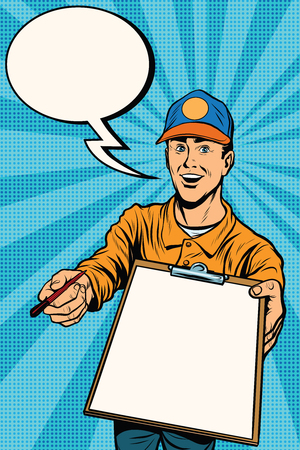 signatures: Courier delivery service mail and parcels. Pop art retro vector, realistic hand drawn illustration. The collection of signatures Illustration