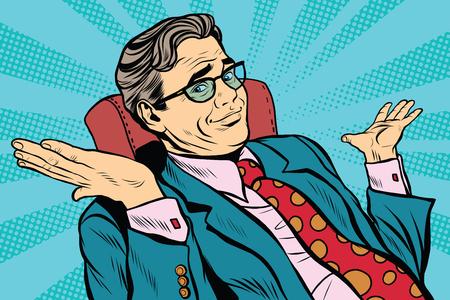 Oops désolé homme d'affaires. rétro vecteur pop art, réaliste illustration dessinée à la main. homme d'affaires jette ses mains Banque d'images - 60723072