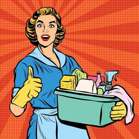 Qualität Wohnungsreinigung, Hausfrau. Pop-Art Retro-Vektor, realistisch Hand gezeichnet illustration.Professional Service Vektorgrafik
