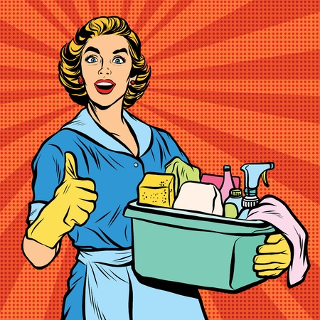 retro housewife: Quality home cleaning, housewife. Pop art retro vector, realistic hand drawn illustration.Professional service