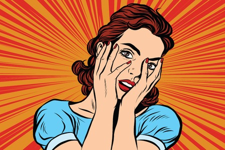 fear: Attractive woman covering her face with both hands. Pop art retro vector, realistic hand drawn illustration.