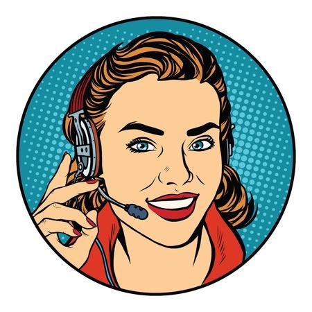 Femme opérateur de soutien à la clientèle. rétro vecteur pop art, réaliste illustration dessinée à la main. Le sourire sur le visage Vecteurs
