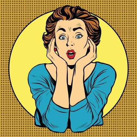Surprised woman. Pop art retro vector, realistic hand drawn illustration.