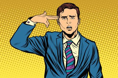 Portrait de l'homme faisant geste pistolet à la tête. rétro vecteur pop art, réaliste illustration dessinée à la main.