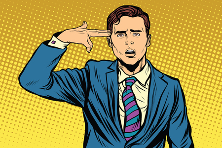 Portrait de l'homme faisant geste pistolet à la tête. rétro vecteur pop art, réaliste illustration dessinée à la main. Banque d'images - 59848123
