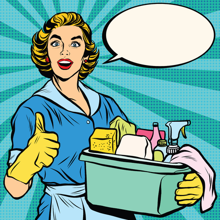 kitchen cleaning: Quality home cleaning, housewife. Pop art retro vector, realistic hand drawn illustration.Professional service