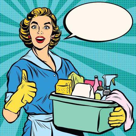 sprzątanie domu Jakość, gospodyni. Pop art retro wektor, realistyczne ręcznie rysowane usługi illustration.Professional Ilustracje wektorowe