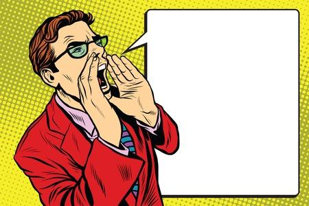 Pop art business man screaming. Pop art retro vector, realistic hand drawn illustration. Promo people Vettoriali