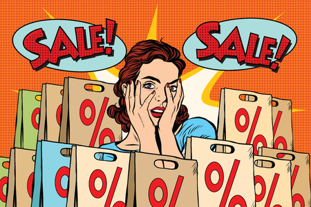 headshot: Pop art surprised woman sales discounts, the buyer. retro vector, realistic hand drawn illustration.